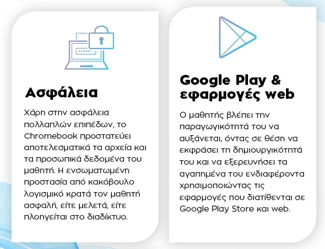 ASUS Chromebook Flip C214 - Ασφάλεια, Google Play & εφαρμογές web