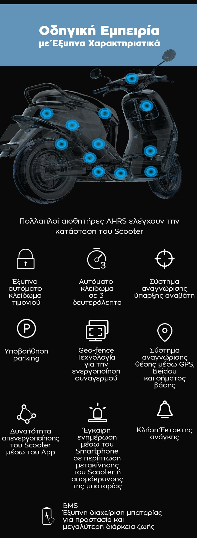 Πολλαπλοί αισθητήρες AHRS ελέγχουν την κατάσταση του Scooter